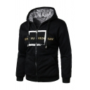 Mens Active SPORT FASHION MAN  Letter X Pattern Long Sleeve Zip Up Casual Hoodie