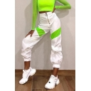 Unique Street Girls' High Waist Zipper Front Contrasted Cuffed Long Relaxed Carrot Trousers