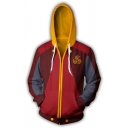 Color Block Long Sleeve Zip Up Side Pocket Red and Yellow Cosplay Hoodie