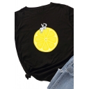 Casual Lemon and Astronaut Pattern Short Sleeves Crew Neck Loose T-Shirt