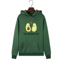 Lovely Avocado Letter YOU COMPLETE ME Printed Long Sleeve Pullover Hoodie