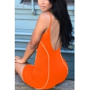 Sexy Street Women's Sleeveless Contrast Piped Reflective Open Back Tight Plain Cami Shorts Rompers