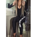 Cool Athletic Women's Long Sleeve Deep V-Neck Letter DRUNK GOD Print Zip Down Stretchy Tight Ankle Jumpsuit in Black