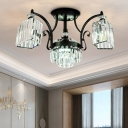 Rectangular-Cut Crystal Trapezoid Ceiling Lamp Modern 3 Heads Black Semi Flush Light in Warm/White Light