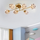 Cubic Semi Flush Mount Light Postmodern Dimple Crystal 4/6 Heads Gold Ceiling Fixture