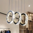 Round Crystal Cluster Pendant Light Contemporary LED Black Hanging Lamp Kit for Living Room
