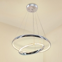 Crystal Circle Ceiling Chandelier Modern LED Chrome Pendant Lighting for Living Room in White/Warm Light