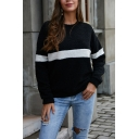 White Stripe Printed Long Sleeve Loose Fit Soft Plush Casual Pullover Sweatshirt