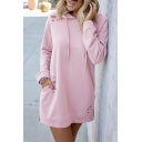 Womens Simple Plain Long Sleeve Ripped Detail Tunic Drawstring Hoodie Dress