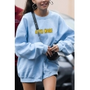 Womens Fashion ROCK MORE Letter Embroidery Long Sleeve Light Blue Classic Pullover Loose Sweatshirt