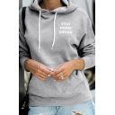 White Letter STAY HOME SQUAD Printed Long Sleeve Kangaroo Pocket Drawstring Sports Hoodie
