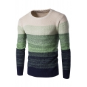 Mens Winter Casual Long Sleeve Round Neck Colorblock Knitted Pullover Sweater