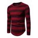 Mens Stylish Striped Ombre Long Sleeve Curved Hem Slim Fit Casual Rib Knit Pullover Sweater
