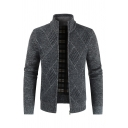 Mens Casual Diamond Printed Stand Collar Long Sleeve Zip Placket Plain Knit Sweater Cardigan
