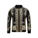 Mens Vintage Golden Floral Lion Trophy Printed Stand Up Collar Slim Fit Black Baseball Jacket