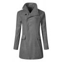 Plain Lapel Collar Long Sleeve Hidden Closure Flap Pocket Longline Wool Coat Topcoat