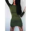 Womens Popular Solid Color Army Green Long Sleeve Asymmetric Hem Cool Clubwear Mini Dress