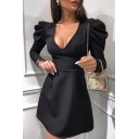 Black Elegant Deep V-Neck Puff Long Sleeve Gathered Waist Mini A-Line Dress for Party