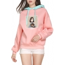 Womens Cute Letter Cartoon Girl Printed Color Block Drawstring Hood Oversized Hoodie