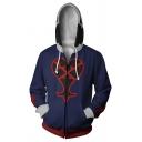 Mens Comic 3D Printed Long Sleeve Drawstring Hooded Zip Up Blue Cosplay Hoodie