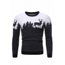 Mens Casual Forest and Deer Printed Long Sleeve Round Neck Mohair Pullover Knit Sweater