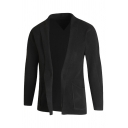 Mens Simple Long Sleeve Shawl Collar Open-Front Short Solid Leisure Knitted Cardigan