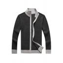 Mens Leisure Contrast Trim Stand Collar Long Sleeve Zip Up Slim Fitted Casual Dark Grey Cardigan Coat