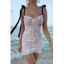 Womens Unique Ribbon Straps Lace Patch White Fitted Mini Gauze Cami Dress