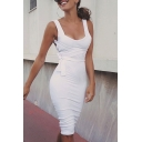 Womens New Arrival Plain White Criss Cross Back Tied Waist Midi Tank Dress for Nightclub