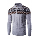 Mens Popular Tribal Print Stand Collar Button Down Cable Knit Pullover Polo Sweater