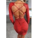 Edgy Women Solid Color V-Neck Long Sleeve Crisscross Back Mini Bandage Dress for Party
