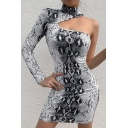 Womens Classic Snakeskin Leopard Pattern Cutout Single Sleeve High Collar Mini Fitted Dress