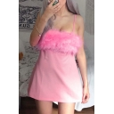 Womens Exclusive Plain Faux Fur Patchwork Sleeveless Mini A-Line Strap Dress for Party