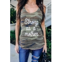 Sexy Camo Letter STRONG AS A MOTHER Printed Scoop Neck Sleeveless Tank