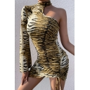 Womens Popular Tiger Print One Shoulder Single Sleeve Drawstring Hem Yellow Mini Party Dress