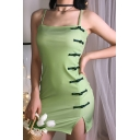 Womens Retro Plain Frog Button Embellished Side Split Light Green Mini Strap Dress