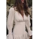Womens Fashionable White Bell Long Sleeve V-Neck Ruffle Hem Mini Party Dress