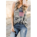 Womens Chic Stripe Star Flag Patch Camouflage Printed Sports Tank Top