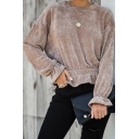 Womens New Stylish Solid Color Bell Long Sleeve Crew Neck Plain Ruffles Corduroy T-Shirt