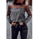 Womens Elegant Mock Neck Sheer Mesh Patchwork Long Sleeve Keyhole Back Sequined Shirt