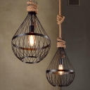 1 Light Teardrop Suspension Light Metal Wire Frame Country Style Hanging Lamp in Black with 39