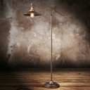 Industrial Stylish Flared Floor Lamp Metal 1 Bulb Living Room Standing Floor Light with Boom Arm in Bronze