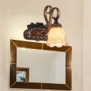 Iron Flared Vanity Light Fixture Traditional Tan Textured Glass 1/2 Lights Bathroom Sconce