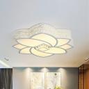 Flower Bedroom Flushmount Light Metal and Clear Crystal 23.5