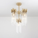 Fluted Crystal Brass Chandelier Light Fixture Radial 5/9 Lights Traditional Hanging Lamp Kit