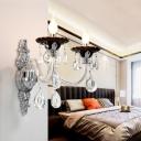 Candelabra Sconce Light Fixture Modern Crystal Drop 1/2 Head Silver Wall Lighting Fixture