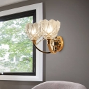 Gold Flower Wall Mounted Light Postmodern 1/2 Heads Clear Glass Sconce Light with Crystal Accent