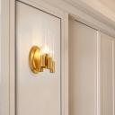 Tubular Wall Light Fixture Postmodern Clear Glass 1 Head Gold Sconce Light for Living Room