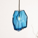 Faceted Blue Glass Hanging Lamp Kit Simple Style 1 Light Pendant Lighting Fixture