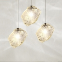 Contemporary Ice Pendant Ceiling Light Clear Glass 1 Head Dining Room Suspension Light